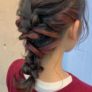 インナーカラー ヘアアレンジ セミロング ダブルカラー ヘアスタイルや髪型の写真・画像