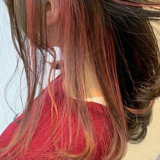 インナーカラー ヘアアレンジ セミロング ダブルカラー ヘアスタイルや髪型の写真・画像 | アヤ / Lano by HAIR