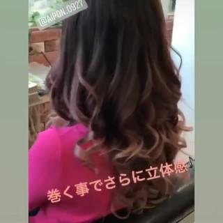 グラデーションカラー 外国人風カラー セミロング ガーリー ヘアスタイルや髪型の写真・画像