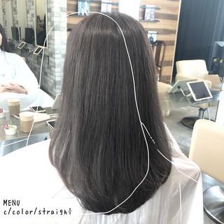 セミロング 前髪 ストレート 髪質改善 ヘアスタイルや髪型の写真・画像