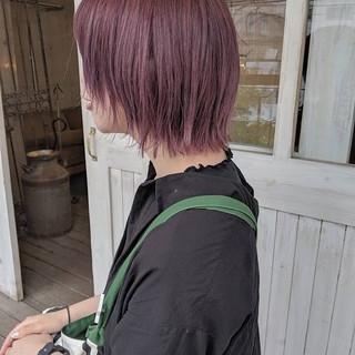 ガーリー デート ピンクバイオレット ボブ ヘアスタイルや髪型の写真・画像