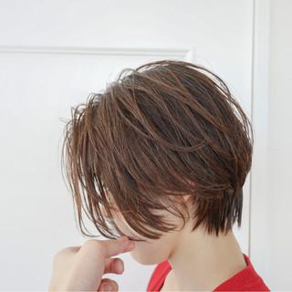 小顔 爽やか かき上げ前髪 ショート ヘアスタイルや髪型の写真・画像