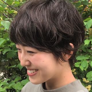 パーマ 黒髪 ショート ショートパーマ ヘアスタイルや髪型の写真・画像
