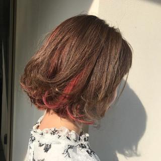 ピンク モード ハイライト ボブ ヘアスタイルや髪型の写真・画像