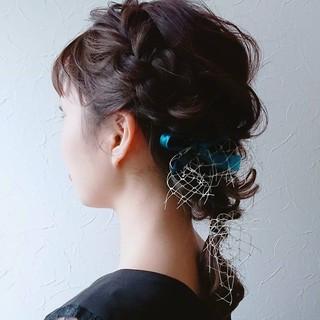フェミニン ミディアム 卒業式 ヘアアレンジ ヘアスタイルや髪型の写真・画像