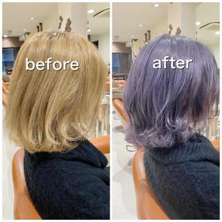 ラベンダーカラー ラベンダーアッシュ ボブ ラベンダーグレージュ ヘアスタイルや髪型の写真・画像