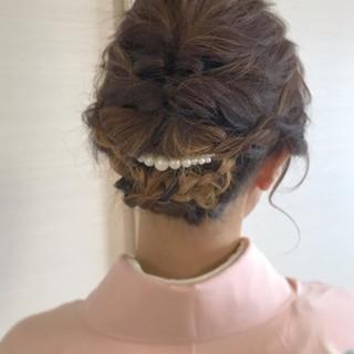 ミディアム ハイライト 訪問着 ナチュラル ヘアスタイルや髪型の写真・画像 ヘアスタイルや髪型の写真・画像