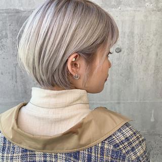 イルミナカラー ハイトーン ナチュラル ショートボブ ヘアスタイルや髪型の写真・画像 ヘアスタイルや髪型の写真・画像
