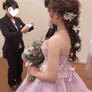 結婚式 フェミニン 編みおろしヘア ボブ ヘアスタイルや髪型の写真・画像
