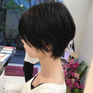ハンサムショート ナチュラル 黒髪 ショート ヘアスタイルや髪型の写真・画像 ヘアスタイルや髪型の写真・画像
