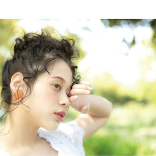 涼しげ ヘアアレンジ ミディアム お団子 ヘアスタイルや髪型の写真・画像