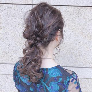 セミロング デート 簡単ヘアアレンジ ヘアアレンジ ヘアスタイルや髪型の写真・画像