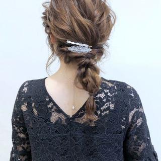 ナチュラル 韓国風ヘアー 編みおろしヘア 簡単ヘアアレンジ ヘアスタイルや髪型の写真・画像