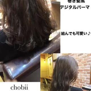 アンニュイほつれヘア セミロング パーマ ゆるふわ ヘアスタイルや髪型の写真・画像
