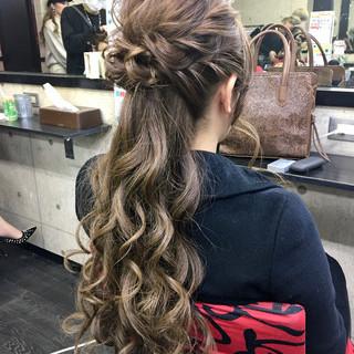 結婚式 ハーフアップ ロング ヘアセット ヘアスタイルや髪型の写真・画像