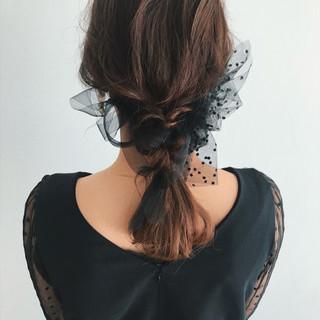 デート ゆるふわ ミディアム ヘアアレンジ ヘアスタイルや髪型の写真・画像