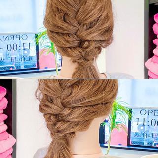 編み込みヘア 編み込み 切りっぱなしボブ ヘアセット ヘアスタイルや髪型の写真・画像