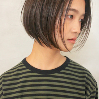 ミニボブ ハイライト ボブ ショートボブ ヘアスタイルや髪型の写真・画像