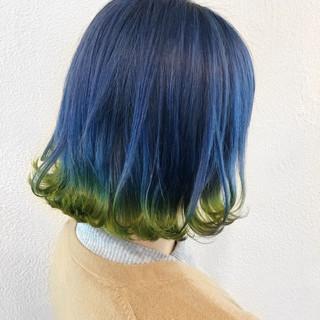 モード ボブ ブルー ネイビー ヘアスタイルや髪型の写真・画像