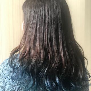 初カラー ブルーグラデーション ネイビーアッシュ ナチュラル ヘアスタイルや髪型の写真・画像