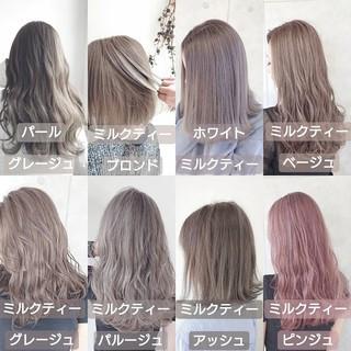 ロング 透明感カラー ミルクティー ブリーチ ヘアスタイルや髪型の写真・画像