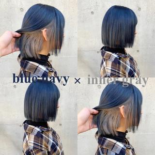 暗髪 ボブ グレー ネイビーアッシュ ヘアスタイルや髪型の写真・画像