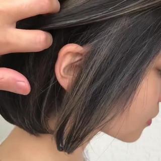 外国人風カラー 3Dハイライト ボブ ハイライト ヘアスタイルや髪型の写真・画像