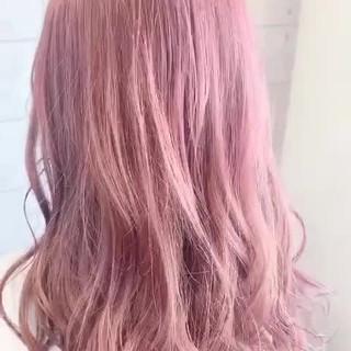 ハイトーンカラー ピンクラベンダー スタイリング ガーリー ヘアスタイルや髪型の写真・画像