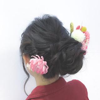 アップスタイル ヘアアレンジ ナチュラル セミロング ヘアスタイルや髪型の写真・画像