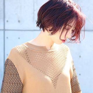 ショート ショートヘア ラベンダーピンク ナチュラル ヘアスタイルや髪型の写真・画像