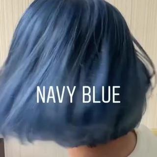 簡単ヘアアレンジ ナチュラル アッシュバイオレット ネイビーブルー ヘアスタイルや髪型の写真・画像