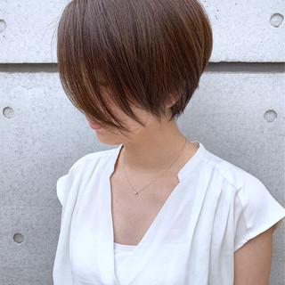 丸みショート ショートヘア 前下がりボブ モテボブ ヘアスタイルや髪型の写真・画像
