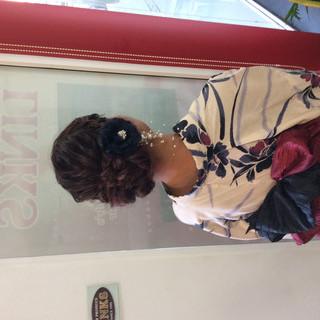 浴衣アレンジ ヘアアレンジ ロング ナチュラル ヘアスタイルや髪型の写真・画像