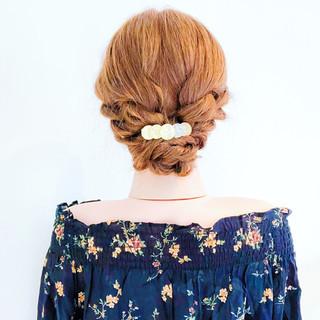 フェミニン 簡単ヘアアレンジ 夏 ロング ヘアスタイルや髪型の写真・画像