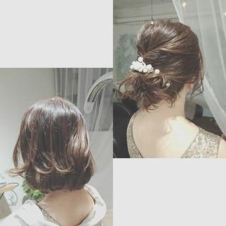 結婚式 夏 ボブ ヘアアレンジ ヘアスタイルや髪型の写真・画像