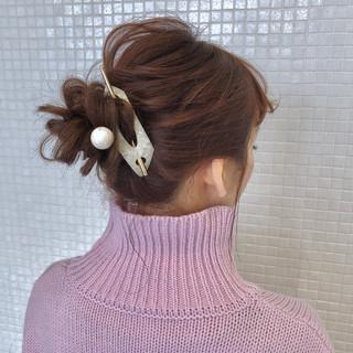 簡単ヘアアレンジ お団子アレンジ ロング お団子ヘア ヘアスタイルや髪型の写真・画像
