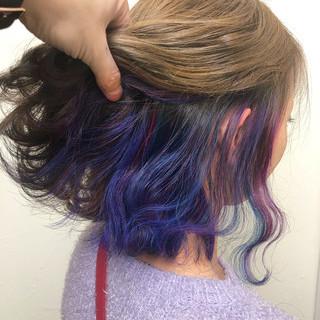 インナーカラー ネイビー ボブ パープル ヘアスタイルや髪型の写真・画像