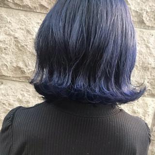 ネイビーブルー ネイビーカラー コリアンネイビー 韓国風ヘアー ヘアスタイルや髪型の写真・画像