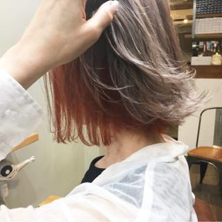 ボブ ラベンダーグレージュ アプリコット アプリコットオレンジ ヘアスタイルや髪型の写真・画像