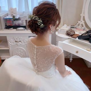 セミロング フェミニン アップスタイル 結婚式 ヘアスタイルや髪型の写真・画像