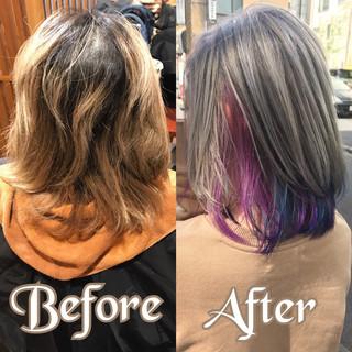 ブリーチ インナーカラー ストリート 外国人風カラー ヘアスタイルや髪型の写真・画像