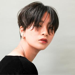 ショート ボーイッシュ 黒髪 モード ヘアスタイルや髪型の写真・画像