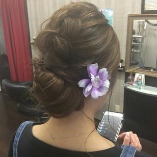 編み込み 和装 ナチュラル 結婚式 ヘアスタイルや髪型の写真・画像