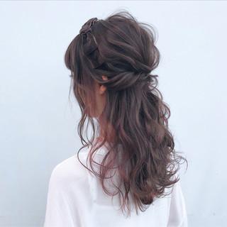 簡単ヘアアレンジ ゆるふわ 結婚式 セミロング ヘアスタイルや髪型の写真・画像