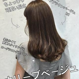 オリーブベージュ オリーブカラー ナチュラル オリーブブラウン ヘアスタイルや髪型の写真・画像