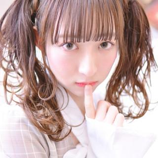 ツインテール ガーリー デート シースルーバング ヘアスタイルや髪型の写真・画像 ヘアスタイルや髪型の写真・画像