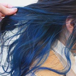 ダブルカラー デザインカラー セミロング ヘアアレンジ ヘアスタイルや髪型の写真・画像