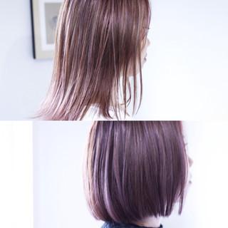 ラベンダーアッシュ ミディアム パープル ラベンダーピンク ヘアスタイルや髪型の写真・画像