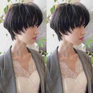 ウルフカット ショートヘア デート 暗髪女子 ヘアスタイルや髪型の写真・画像