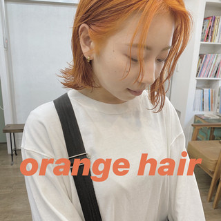ボブ オレンジベージュ ミニボブ アプリコットオレンジ ヘアスタイルや髪型の写真・画像